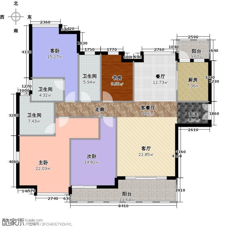 时代南湾13、15、16栋户型4室1厅3卫1厨