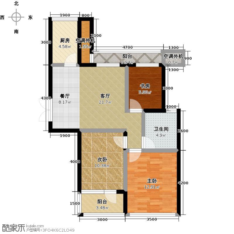 美好桂花溪园90.60㎡南区9号楼户型3室1厅1卫1厨