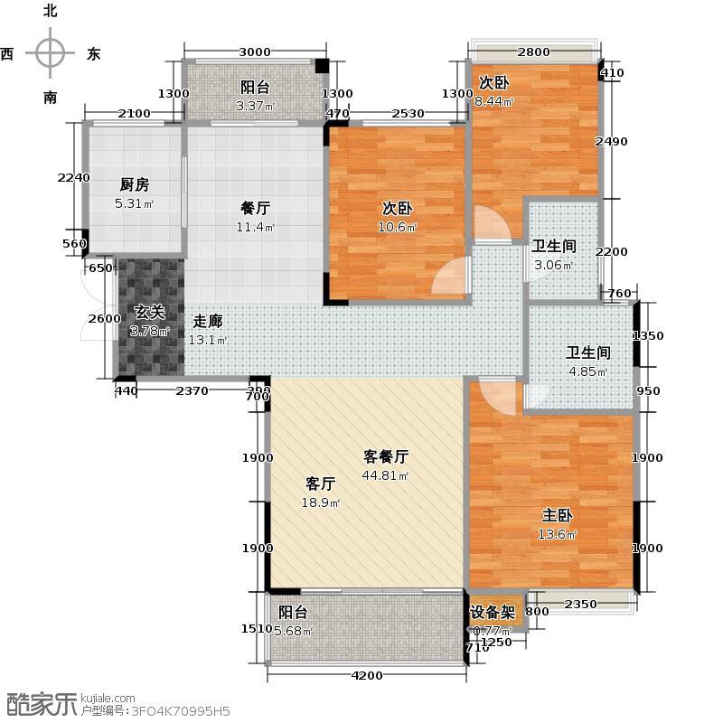 深业睿城B3户型3室1厅2卫1厨