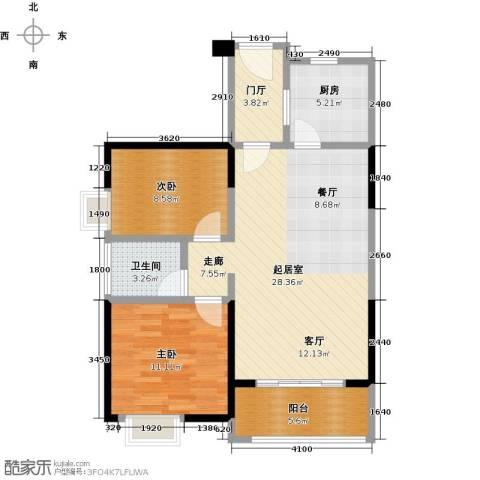 卓越东部蔚蓝海岸2室0厅1卫1厨77.00㎡户型图