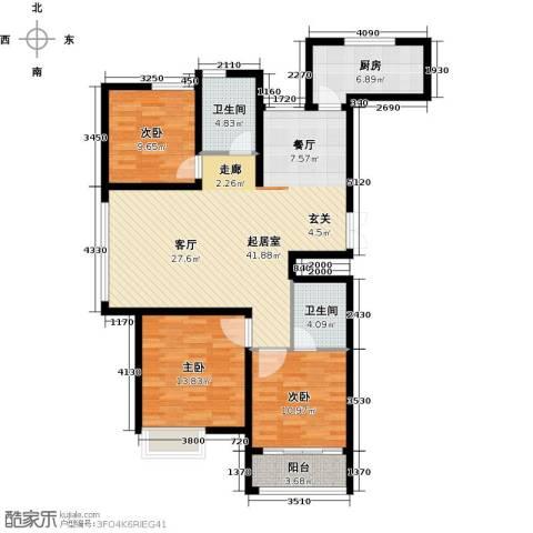 淮海.东城御景3室0厅2卫1厨136.00㎡户型图