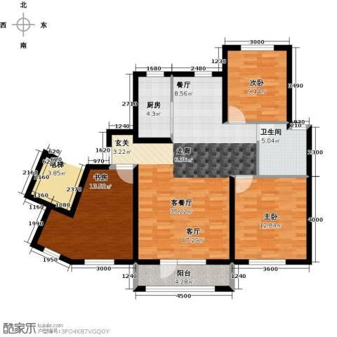鸿玮澜山二期和院3室1厅1卫1厨110.00㎡户型图