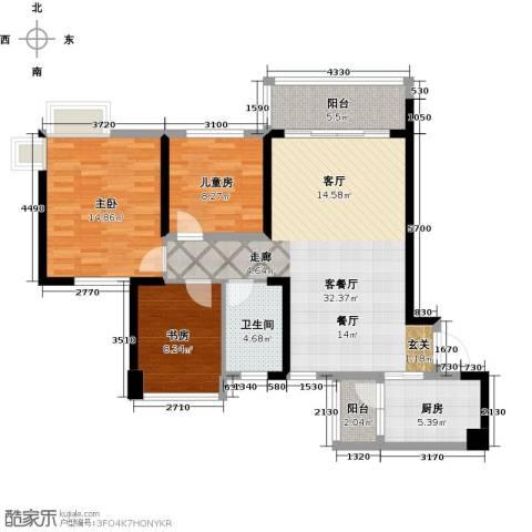广州碧桂园城市花园3室1厅1卫1厨93.00㎡户型图