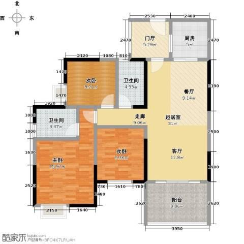 卓越东部蔚蓝海岸3室0厅2卫1厨105.00㎡户型图