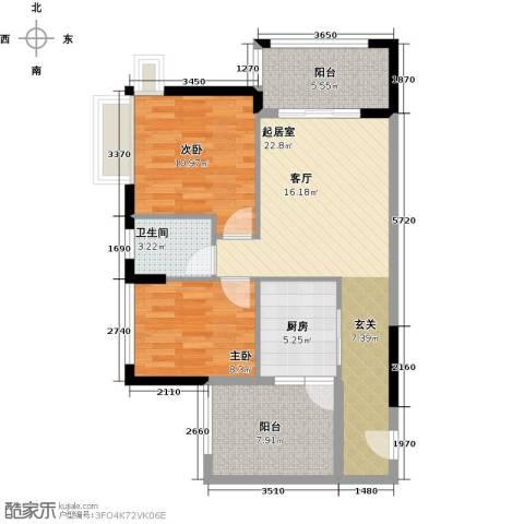 鑫月城2室0厅1卫1厨78.00㎡户型图