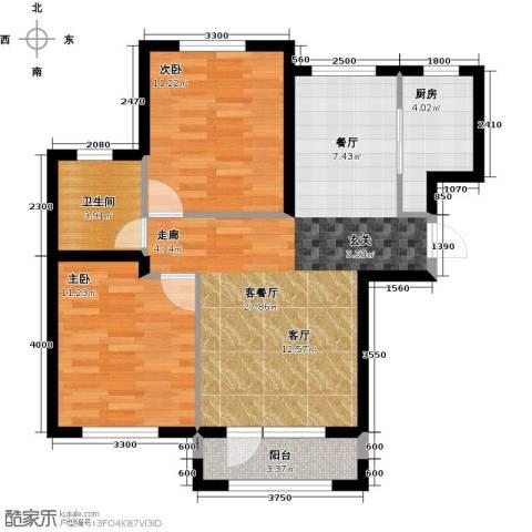 鸿玮澜山二期和院2室1厅1卫1厨82.00㎡户型图