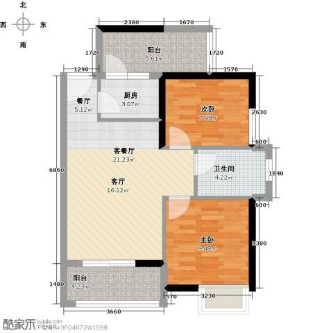 鑫月城2室1厅1卫1厨71.00㎡户型图