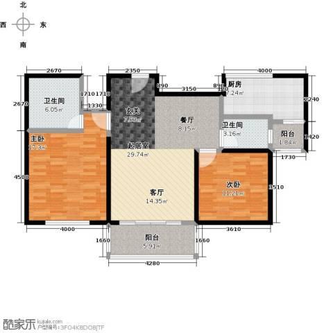 海上国际花园2室0厅2卫1厨117.00㎡户型图