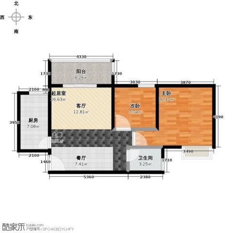 凯德新视界2室0厅1卫1厨76.00㎡户型图