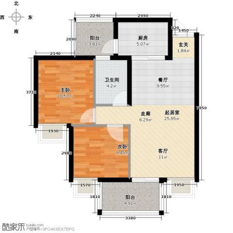 九龙1号2室0厅1卫1厨90.00㎡户型图
