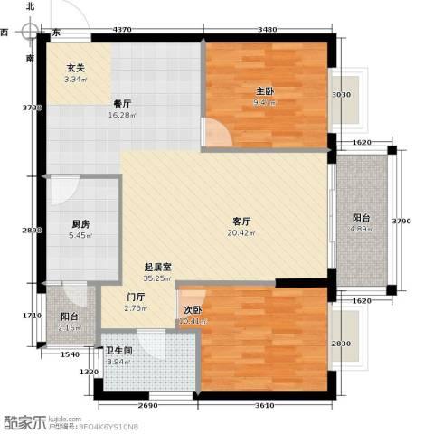 九龙1号2室0厅1卫1厨100.00㎡户型图