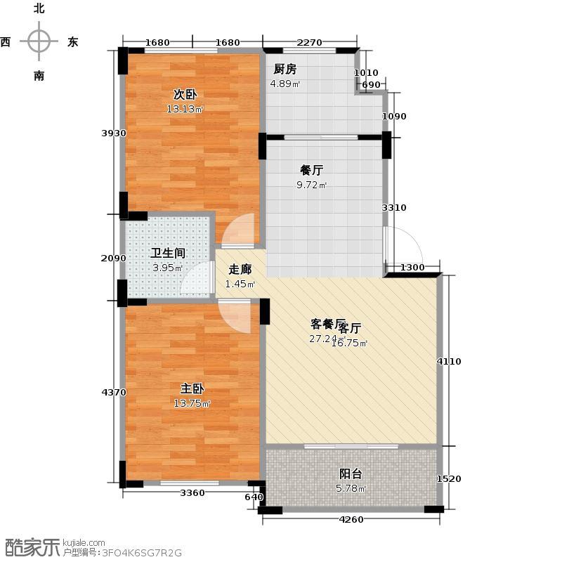 澳海梦想城多层户型2室1厅1卫1厨