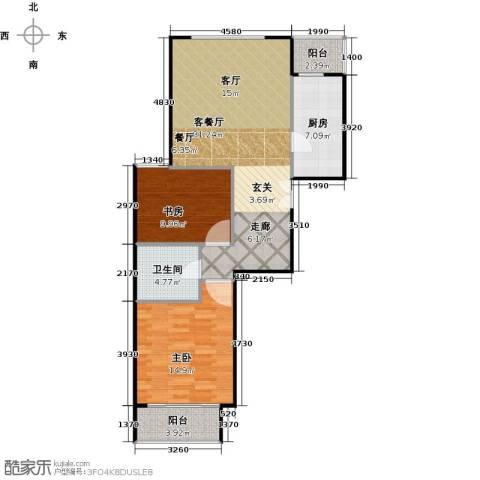 建邦枫景2室1厅1卫1厨93.00㎡户型图