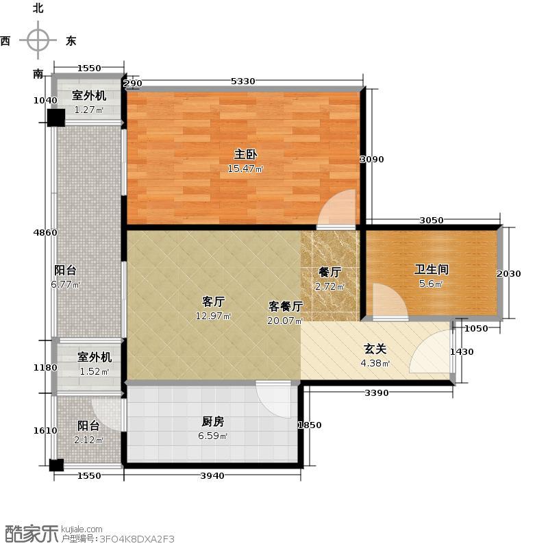 永翌公馆12楼G1户型1室1厅1卫1厨