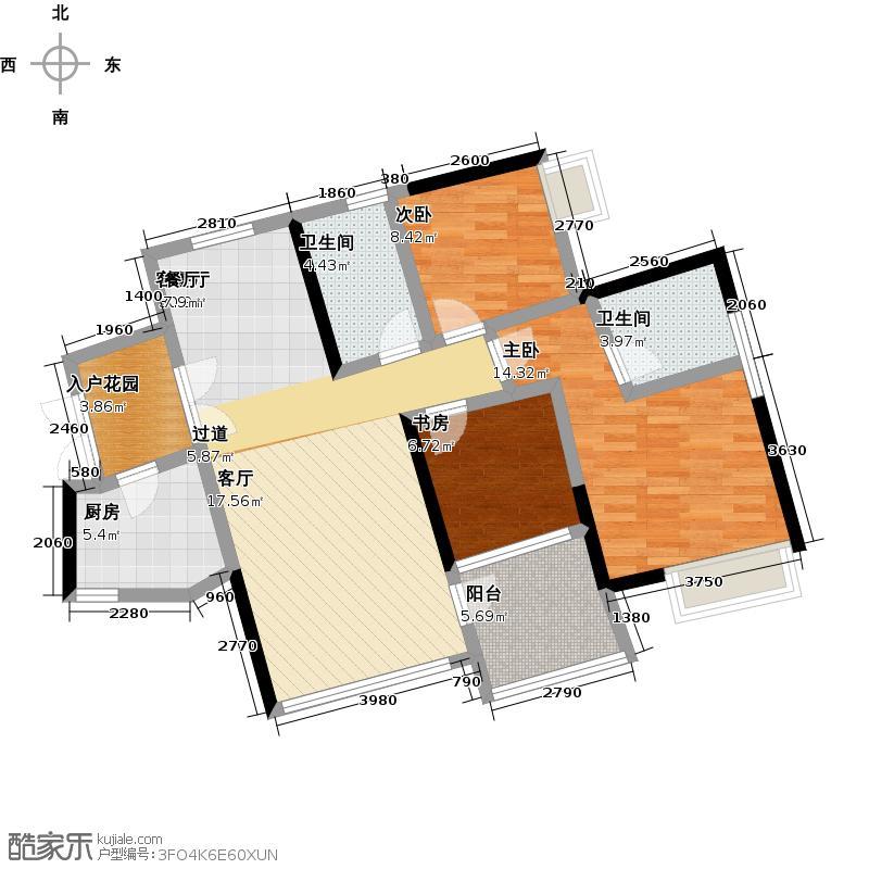 东湖映月二期E2栋06户型3室1厅2卫1厨