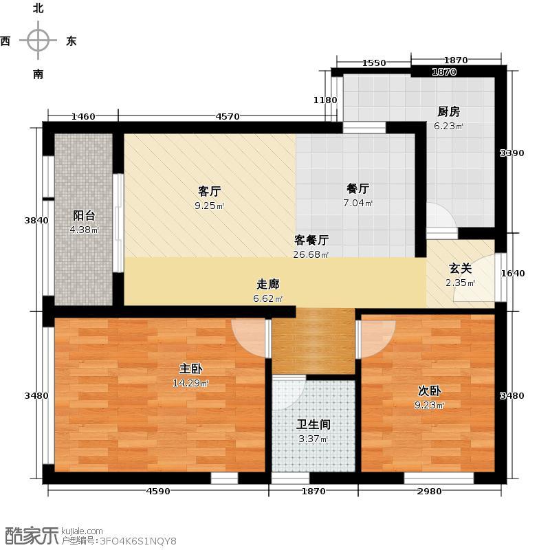 文汇雅居户型2室1厅1卫1厨