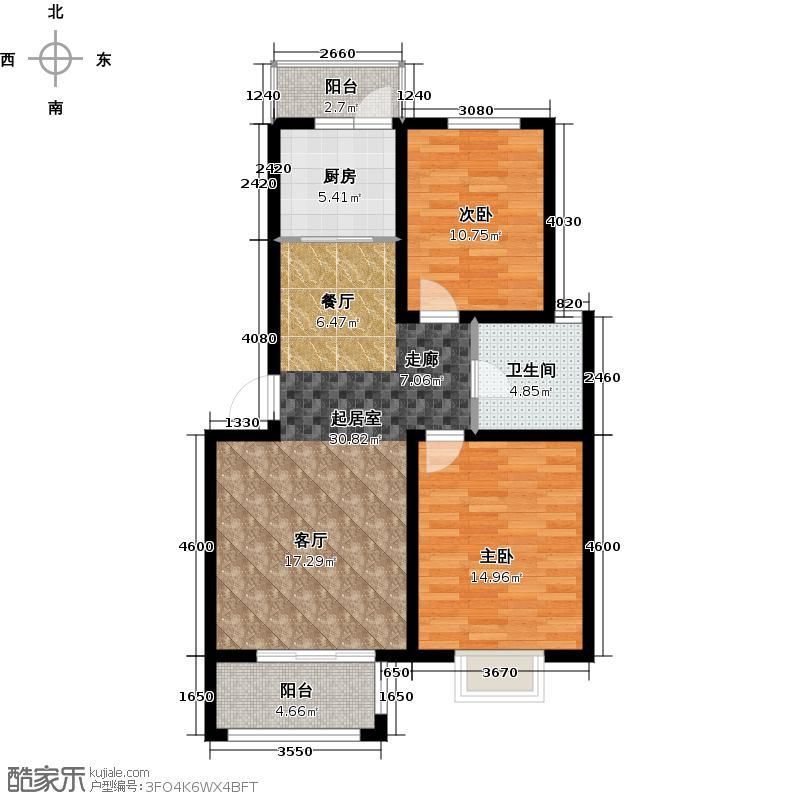 恒盛湖畔豪庭A1户型2室1卫1厨