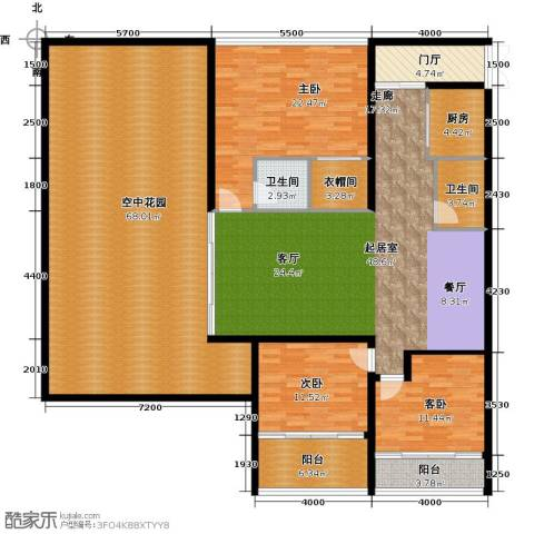 中和龙沐湾・海润源3室0厅2卫1厨191.27㎡户型图