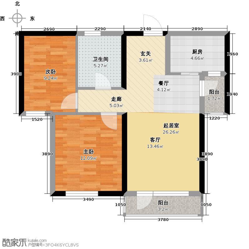 碧龙潭温泉小镇户型2室1卫1厨