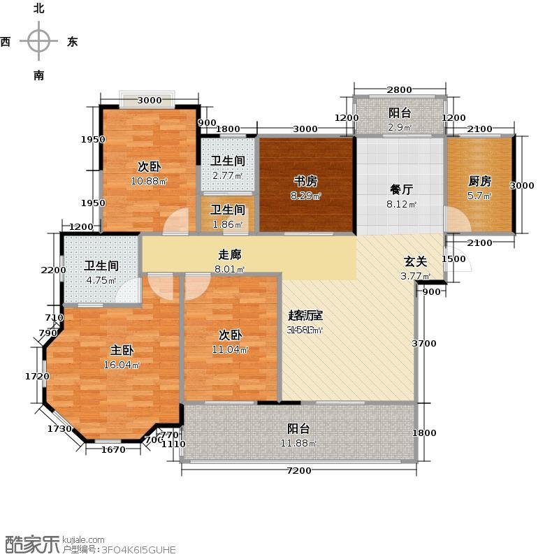 华剑首郡135.22㎡2-1空中花园户型4室3卫1厨