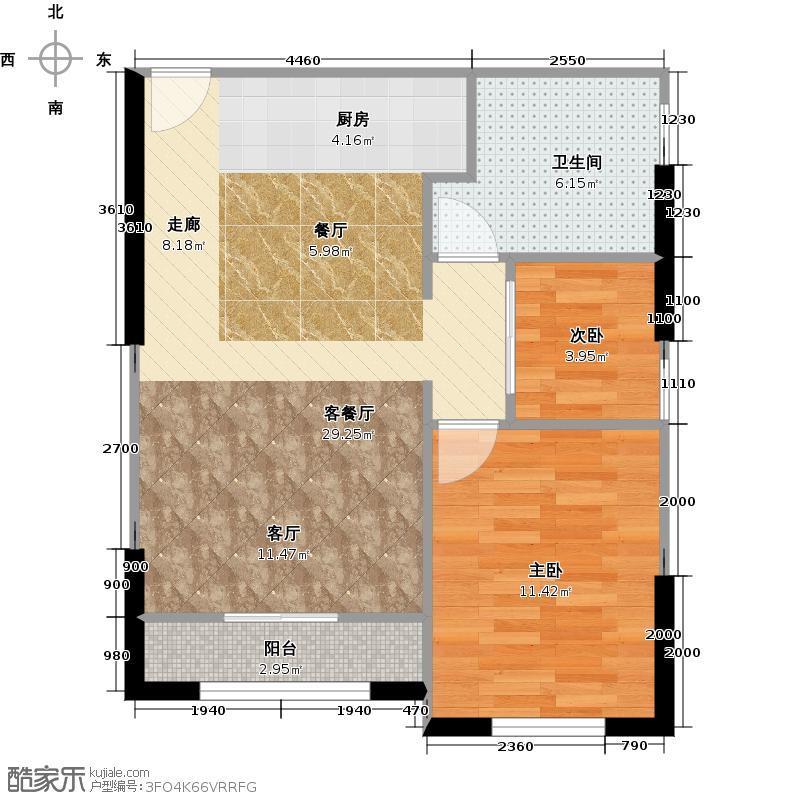 南沙奥园铂海国际养生公寓C单位户型2室1厅1卫