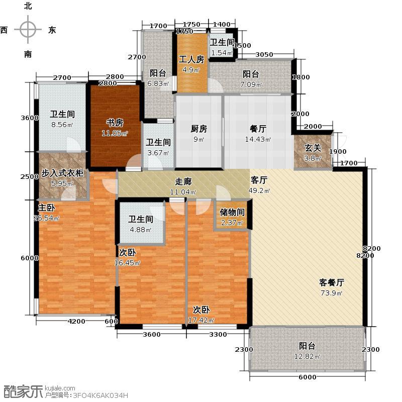 仁恒滨河湾户型4室1厅4卫1厨