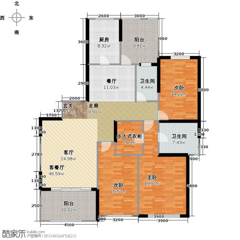 仁恒滨河湾A2户型3室1厅2卫1厨