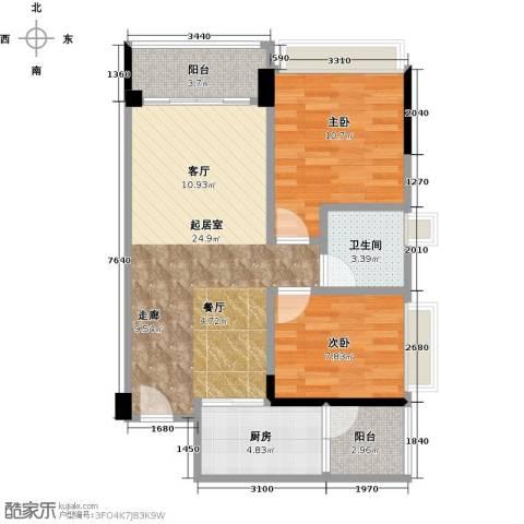 碧桂园凤凰城2室0厅1卫1厨77.00㎡户型图