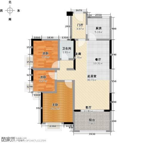 卓越东部蔚蓝海岸3室0厅1卫1厨85.00㎡户型图