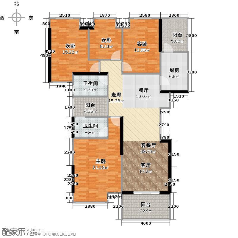 南沙奥园7栋/10栋1梯01单位户型4室1厅2卫1厨