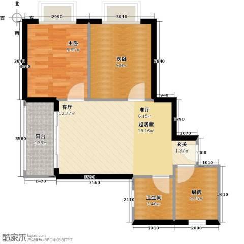 山水兰庭2室0厅1卫1厨72.00㎡户型图