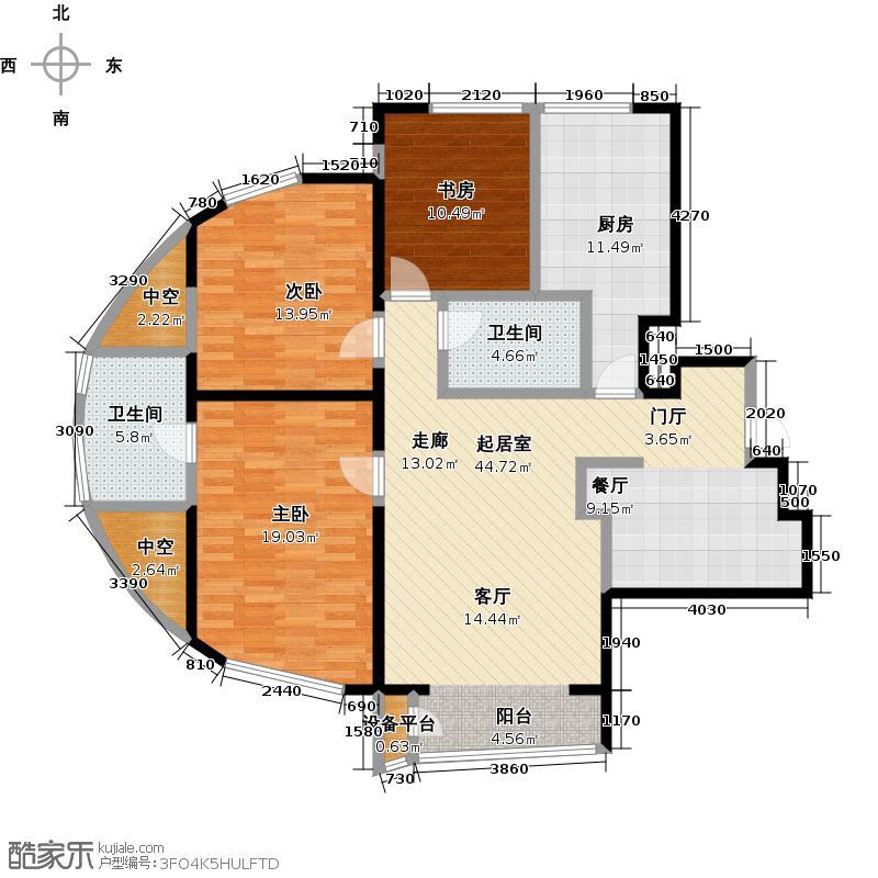 世纪金三角公寓户型3室2卫1厨