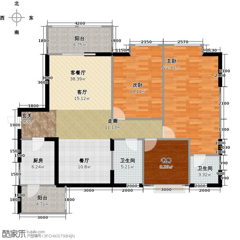 春天国际一期1、2、10号楼A1户型3室1厅2卫1厨