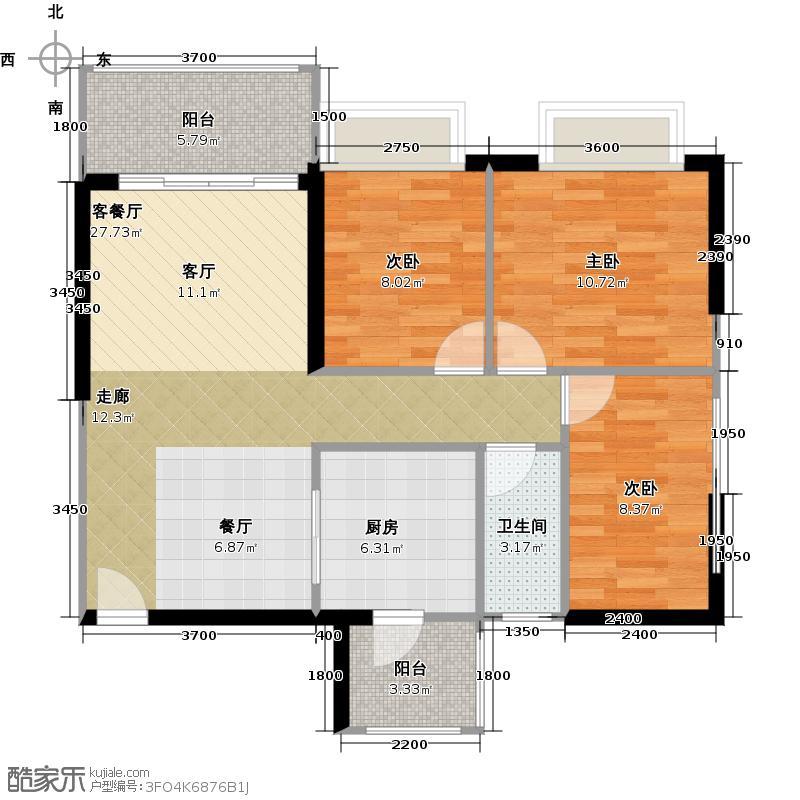 恒大雅苑单卫户型3室1厅1卫1厨