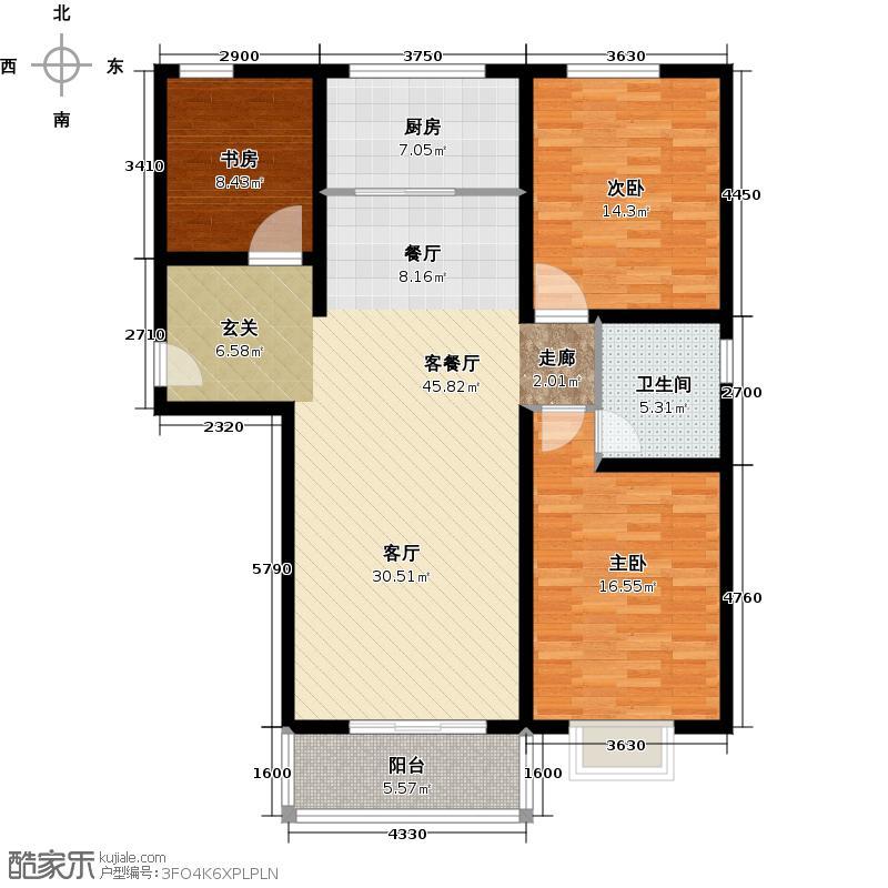 翰林雅筑二期116.86㎡A户型三室二厅一卫户型3室2厅1卫
