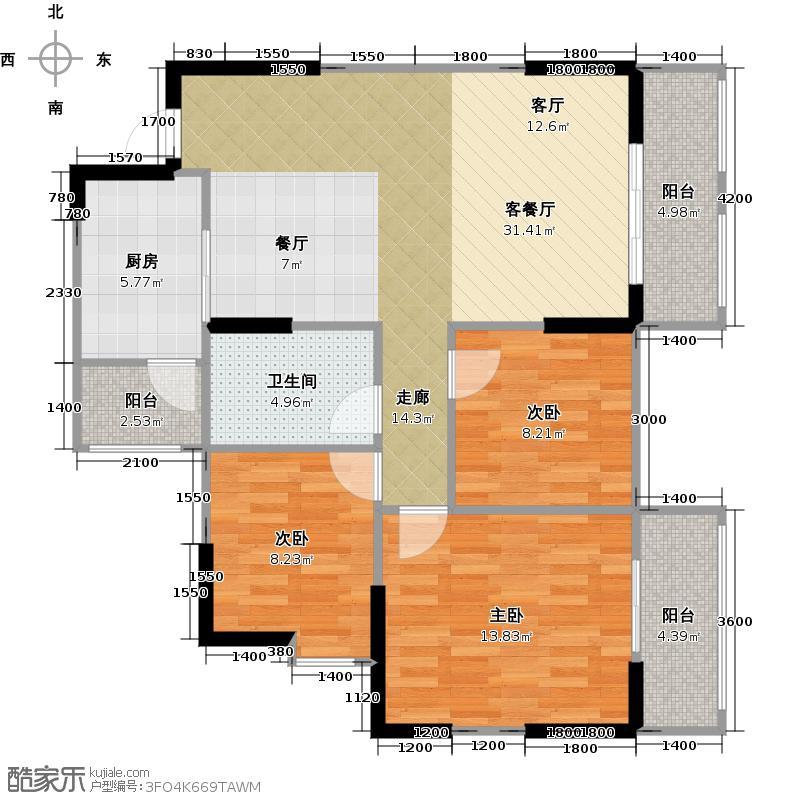 北城映像一期A2户型3室1厅1卫1厨