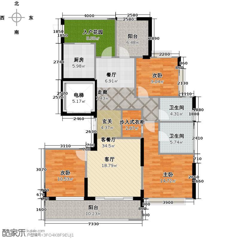 绿城・玉兰广场E1户型3室1厅2卫1厨
