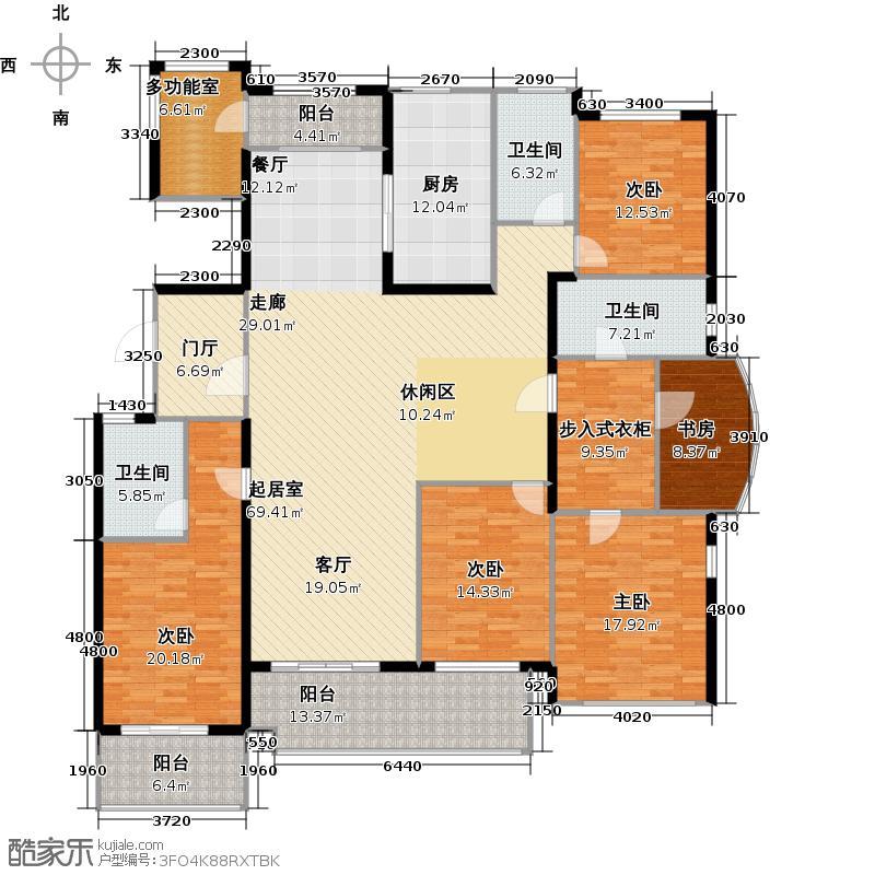 万泰国际广场檀香湾242.27㎡4号楼C户型5室3卫1厨