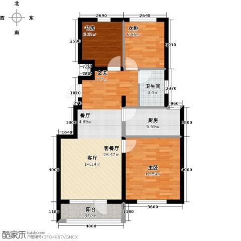 鸿玮澜山二期和院3室1厅1卫1厨89.00㎡户型图