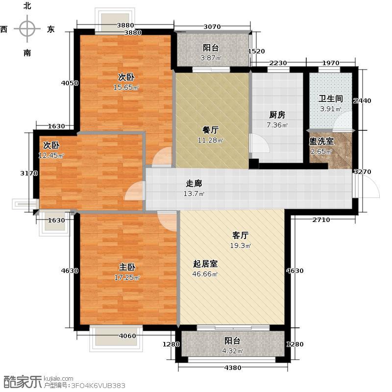 苏州河畔户型3室1卫1厨