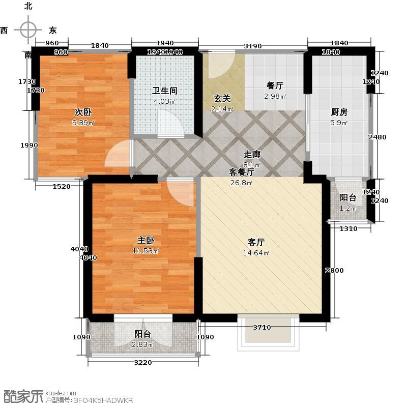 沽上江南69.52㎡高层B\'户型2室1厅1卫1厨