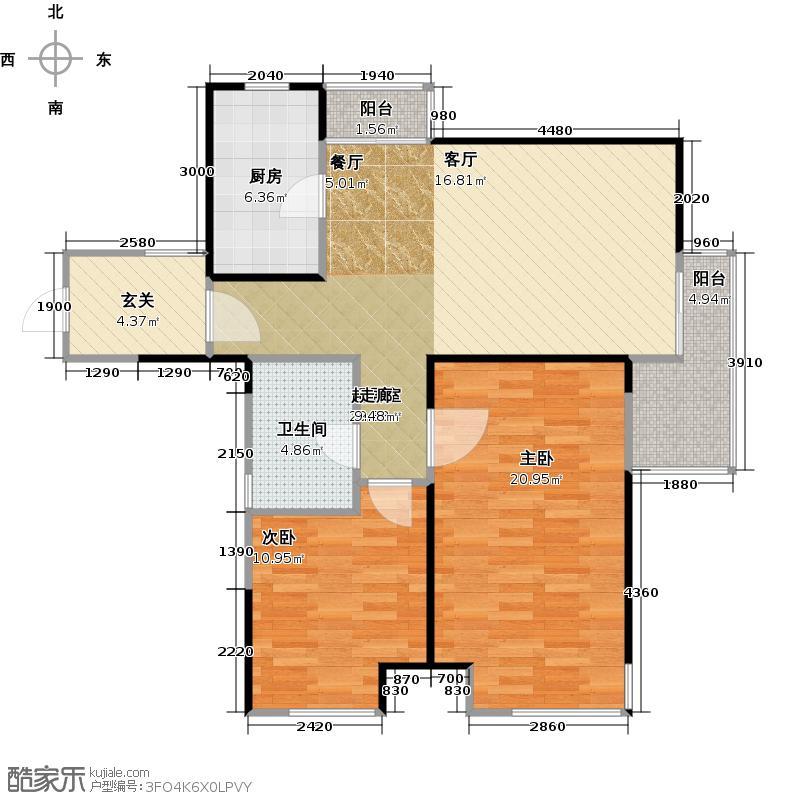 金地格林世界森林公馆B4户型2室1卫1厨