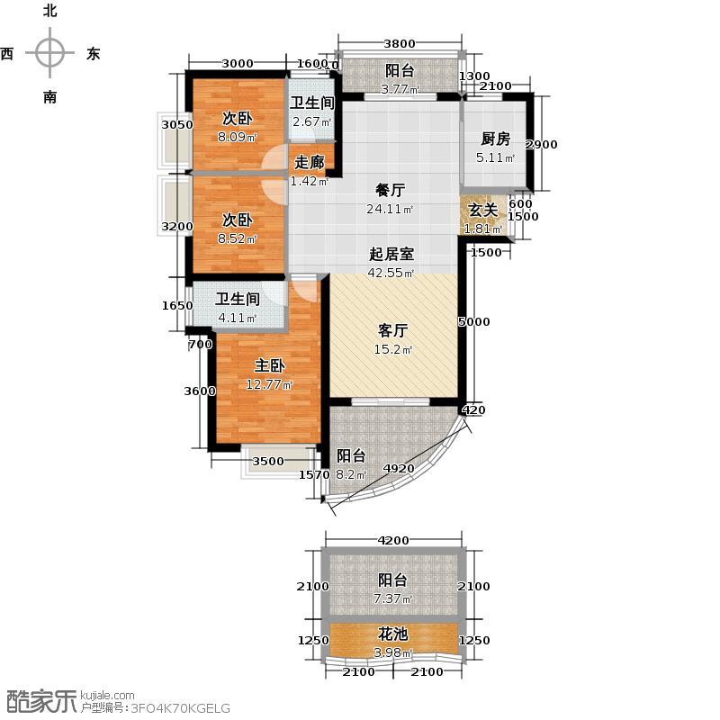 美丽沙・蓝色海岸ABC栋01户型3室2卫1厨