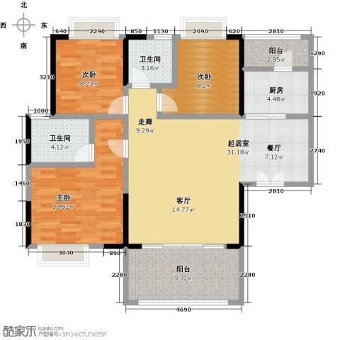 卓越东部蔚蓝海岸3室0厅2卫1厨97.00㎡户型图