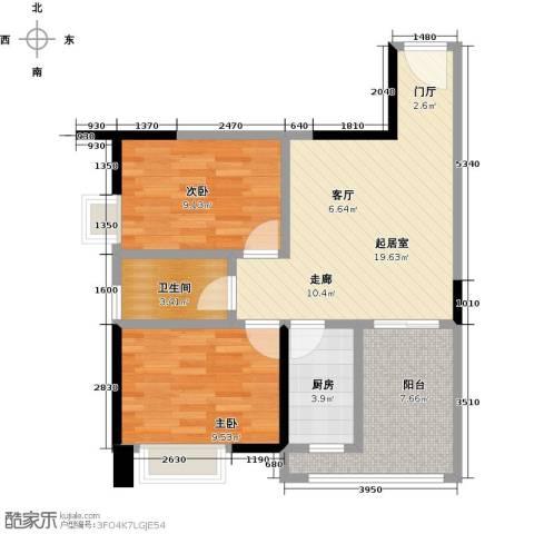 卓越东部蔚蓝海岸2室0厅1卫1厨61.00㎡户型图