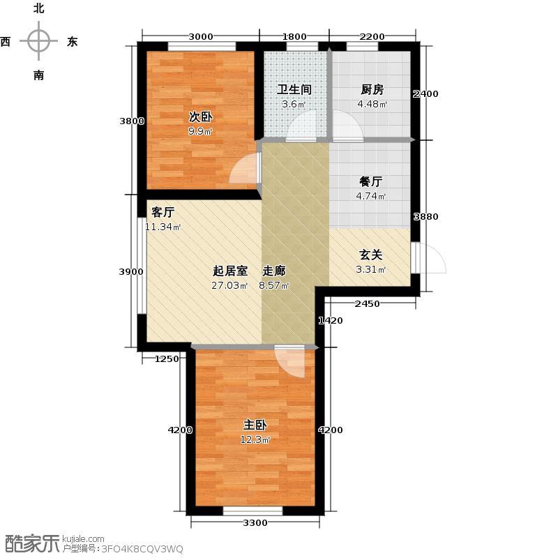 荣邦华福C户型2室1卫1厨