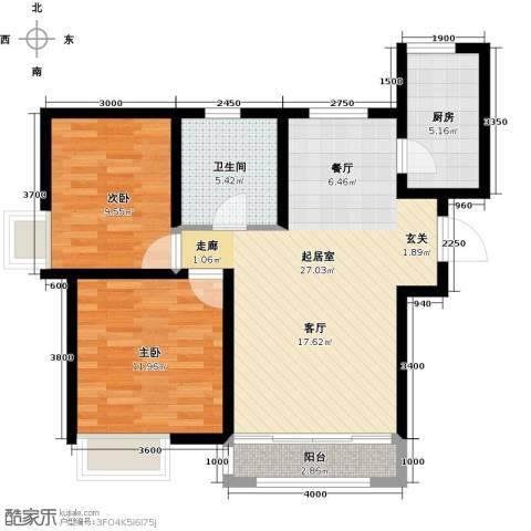 南益名士华庭2室0厅1卫1厨98.00㎡户型图