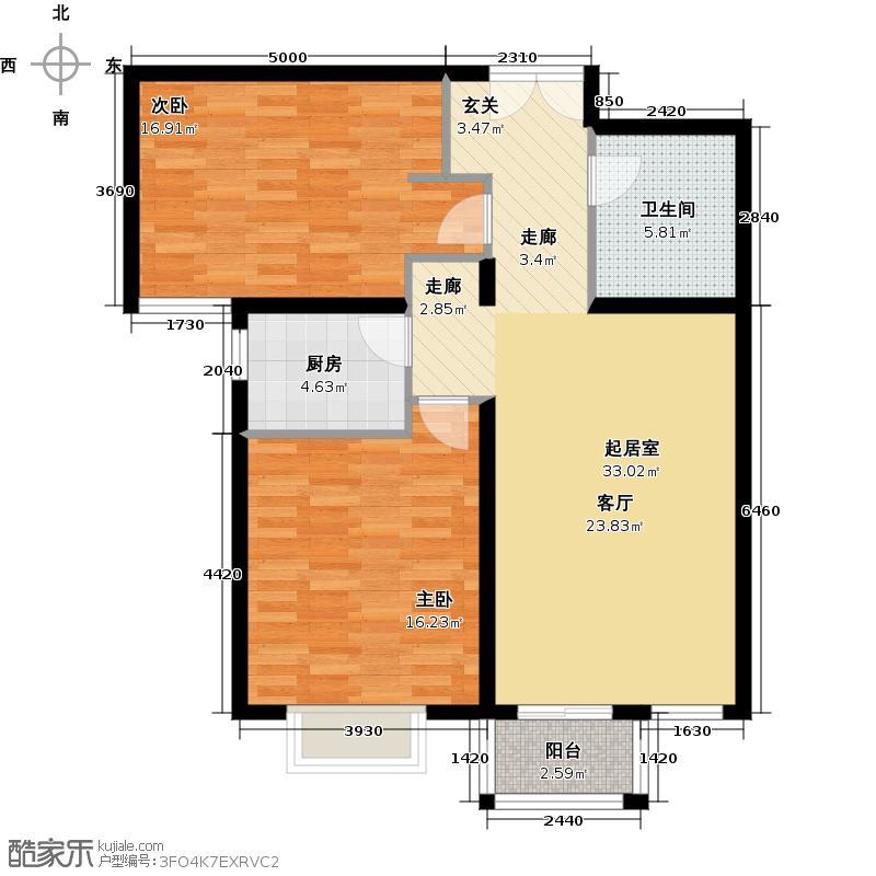 万和城89.00㎡B3二室二厅一厨一卫户型2室2厅1卫