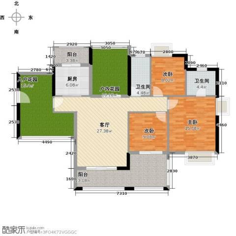 鑫月城3室1厅2卫1厨135.00㎡户型图