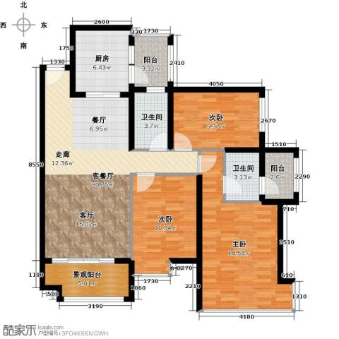 雅居乐锦官城3室1厅2卫1厨112.00㎡户型图